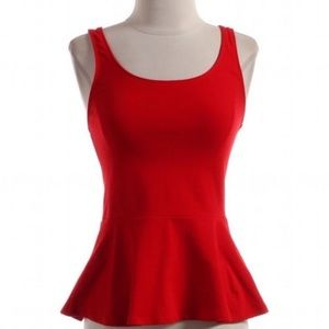 EXPRESS RED PEPLUM TANK TOP NWOT✨